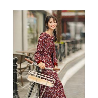 秋季文艺娃娃领裙子甜美荷叶袖长袖碎花连衣裙长款