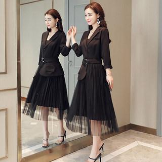 秋季新款韩版西装网纱百褶裙子修身显瘦中长款假两件连衣裙女