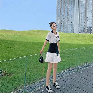 女2019新款高冷御姐范气质女神套装洋气时尚网红小个子高腰百褶裙短裙两件套