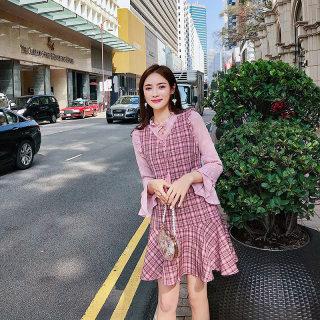 女秋季2019新款维多利亚复古格子裙法式荷叶边仙女裙chic温柔粉色连衣裙