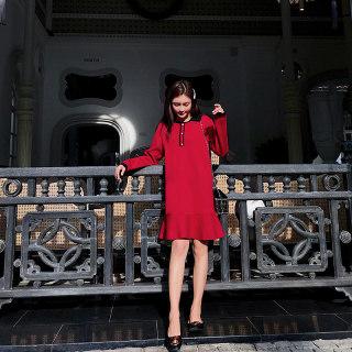 2019新款秋装法式复古裙山本荷叶边连衣裙女冬超仙红色针织毛衣裙子女