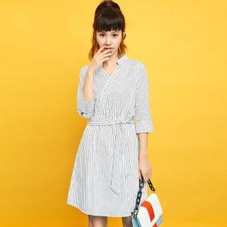 M秋季女装新款韩版潮流修身时尚条纹V领收腰简约显瘦中长A字连衣裙女