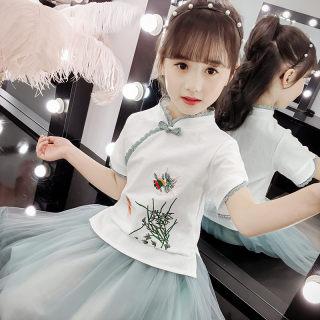 汉服中国风古装超仙襦裙小女孩公主裙子复古唐装套装女童夏装
