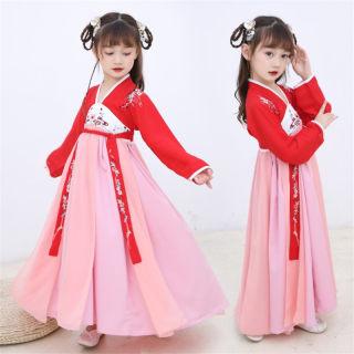 女童汉服儒裙中国风裙子超仙女飘逸古装秋季宝宝唐装小女孩连衣裙