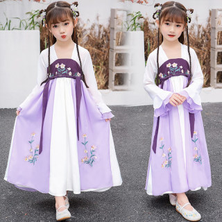 儿童宝宝春秋女童改良长袖汉服秋款一体襦裙中国风连衣裙唐装礼服