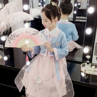 秋装女童古装刺绣唐装儿童汉服中国风襦裙两件套中大童洋气学生装