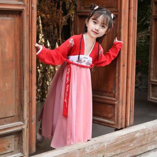 女童连衣裙春秋款中国风仙女服唐装齐胸襦裙儿童小女孩古风演出服夏季汉服