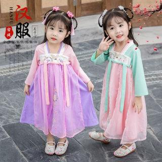 秋装新款女童汉服襦裙小女孩改良刺绣中国风唐装公主裙小童公主裙