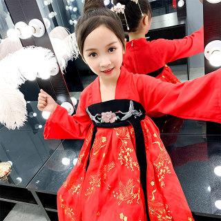 秋装襦裙汉服儿童女童装中国风仙女飘逸古装女超仙春秋款复古时尚小女孩裙