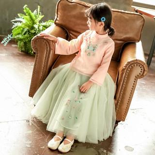 女童汉服童装2019秋装新款中小童中国风改良版复古套装宝宝两件套