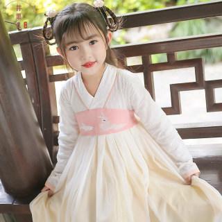 儿童汉服春秋季女童古装超仙古风唐装小女孩秋款改良儿童旗袍连衣裙