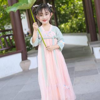 汉服女童春秋款雪纺连衣裙中国风改良秋季古装齐胸襦裙锦绣宝宝唐装