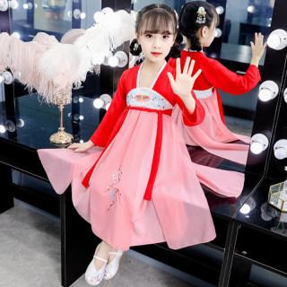 2019秋季女童汉服齐胸襦裙同款中国风小女孩汉元素改良连衣裙