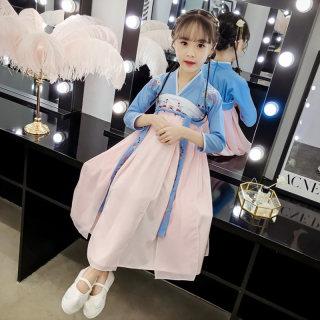女童汉服秋雪纺连衣裙长袖女孩中国风春秋季古装儿童超仙襦裙长款