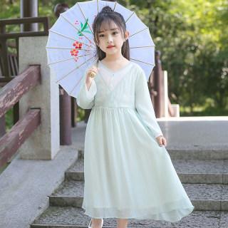 汉服女童春秋款改良齐胸襦裙中国风秋季刺绣连衣裙超仙旗袍儿童