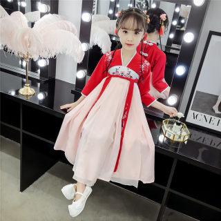 儿童古装汉服女童仙女公主改良小女孩襦裙中国风超仙春秋唐装飘逸