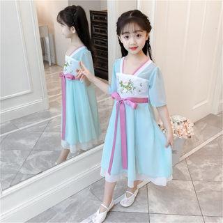 女童汉服古装襦裙儿童中国风女童装夏装中大童古风唐装超仙童装女