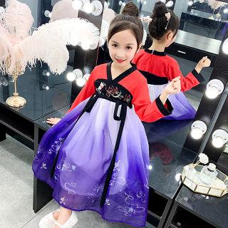 汉服女童春秋款儿童装襦裙小女孩中国风改良古装中大童超仙连衣裙
