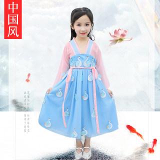 儿童汉服齐胸襦裙女夏雪纺连衣裙2019新款中国风国学超仙女童古装