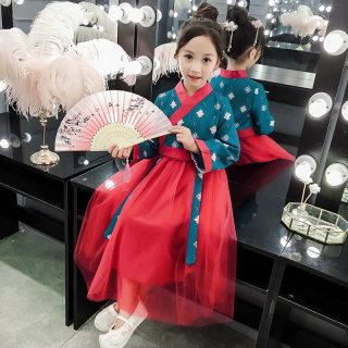 女童汉服襦裙2019秋季新款中国风改良唐装春秋长袖超仙古装连衣裙
