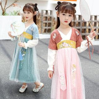 儿童汉服女童古装超仙小女孩秋装中国风连衣裙仙女宝宝齐胸儒裙薄