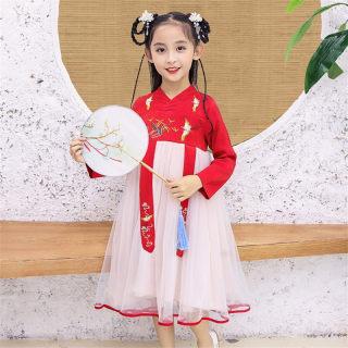 女童改良汉服儒裙装秋复古民族服装女宝宝仙女古装儿童中国风唐装