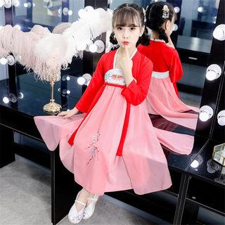 女童连衣裙2019秋装新款汉服改良中国风刺绣系带中大童公主秋季裙子