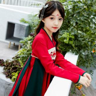 女童中国风汉服连衣裙齐胸襦裙中大童唐装小女孩超仙秋装公主裙仙