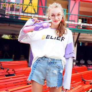 新款秋装2019秋季新款上衣女嘻哈潮ins长袖t恤女韩版条纹拼接假两件宽松