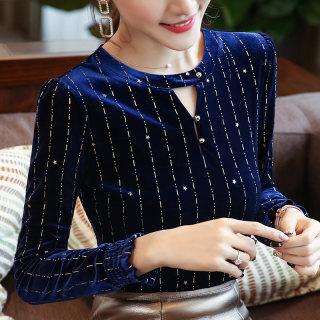 新款秋装2019秋装新款女装韩版条纹修身T恤女圆领显瘦体恤长袖打底衫女上衣