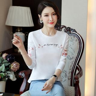 新款秋装2019秋装新款女装韩版绣花体恤女圆领修身显瘦T恤长袖打底衫女上衣