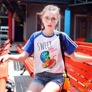 女装秋装2019夏装新款韩版宽松运动学生半袖洋气上衣短袖设计感t恤女短款
