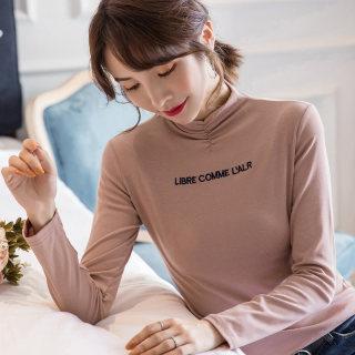 女装秋装半高领T恤女长袖2019秋装新款女装韩版字母套头修身长袖打底衫