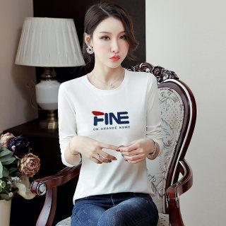 女装秋装2019秋装新款女装韩版字母T恤女圆领修身显瘦体恤长袖打底衫女上衣
