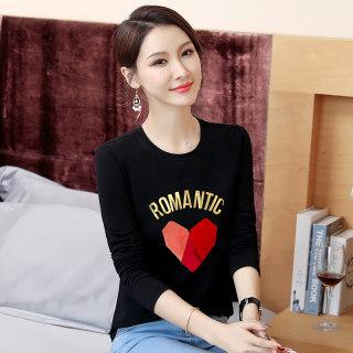 女装秋装2019秋装新款女装韩版修身印花上衣女圆领显瘦体恤长袖打底衫女T恤