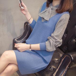 【秋季新品 时尚百搭】女装秋装秋装新品假两件针织连衣裙