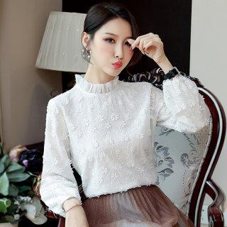 女装秋装2019秋装新款韩版纯棉体恤打底衫显瘦立领白色长袖T恤女秋季上衣