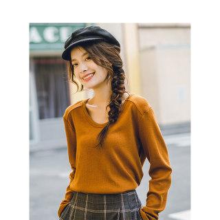 女装秋装秋装新款休闲纯色长袖百搭简约文艺宽松打底T恤上衣女