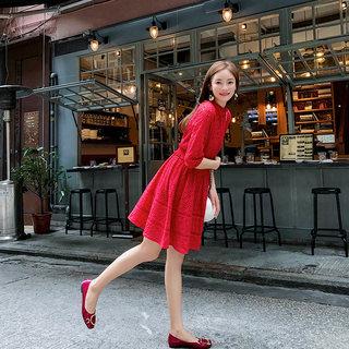 女装秋装女2019新款秋装很仙的法国小众红色蕾丝连衣裙女法式复古高腰a字裙子女