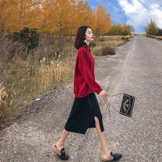 女装秋装女御姐洋气时尚红色针织套装裙2019新款秋装女神范毛衣裙子两件套装套裙女
