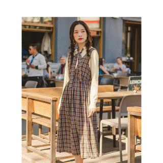 女装秋装套装裙秋装复古格纹学院风连衣裙配系带针织衫两件套