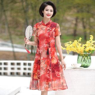 改良旗袍2019新款夏阔太太高贵典雅改良旗袍裙时尚中年女装雪纺裙