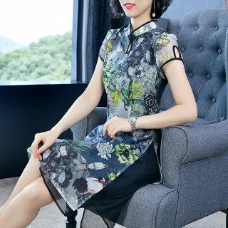 旗袍改良版连衣裙女士裙子秋季2019新款复古印花网纱拼接