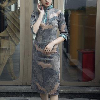 改良旗袍2019秋装新款女立领复古修身中长款改良旗袍连衣裙