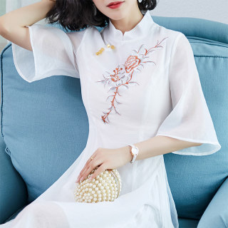 旗袍改良版连衣裙女夏季新式中国风汉服仙气清冷风超仙飘逸古风