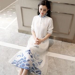 改良旗袍2019秋装新款中式古典风改良旗袍刺绣复古长款连衣裙