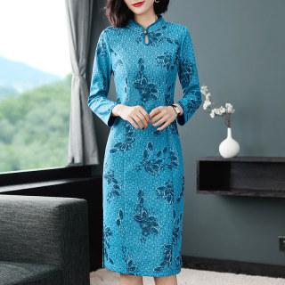 改良旗袍新款秋装蕾丝长袖洋气连衣裙中老年女装时尚旗袍裙