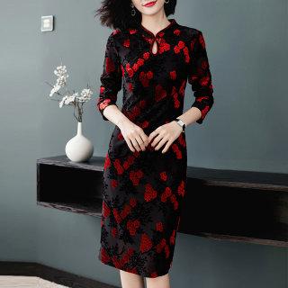 改良旗袍春秋季新款女式现代改良版长袖中长款旗袍连衣裙