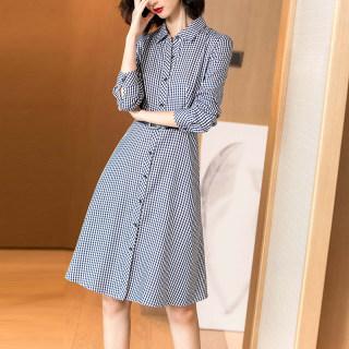 2019秋季新款英伦风复古格子衬衫裙系带收腰长袖休闲连衣裙