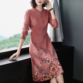 旗袍连衣裙中年女装秋装中老年洋气高贵麂皮绒过膝裙子